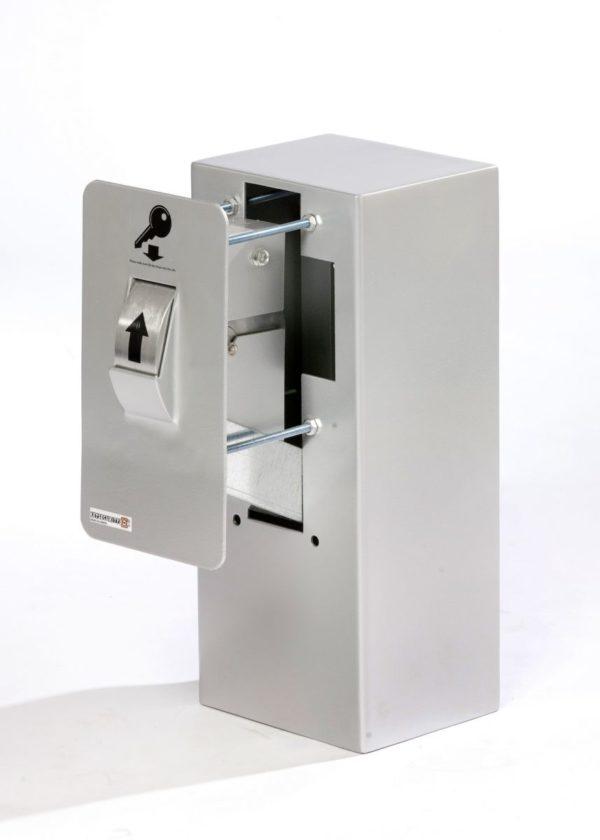 Keysecuritybox KSB107 inbouw sleutel afstortkluis met gevelplaat, rolwiel en binnenkluis.