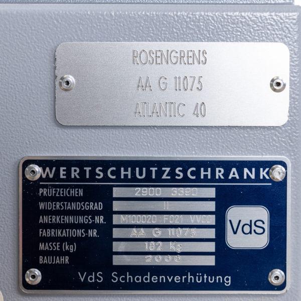 Rosengrens Atlantic compacte Euroklasse II kluis OCC1611 met elektronisch codeslot